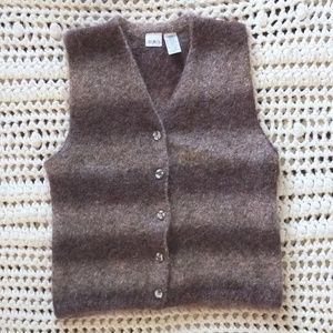 Mixit Brown Striped Mohair Vest Size Small Chico